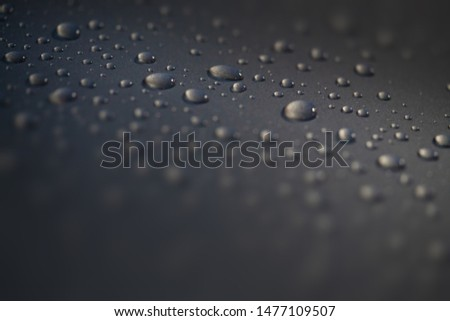 abstract drops on hydrophobic surfaces by balls. dark sparkling surface out of focus