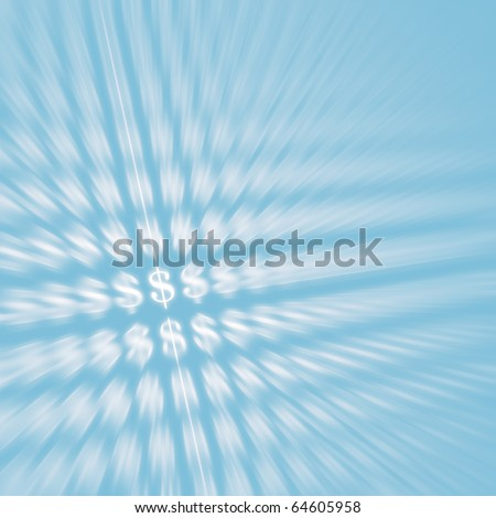 Abstract dynamic background with dollar currency symbols on light blue background. Business and money concept.