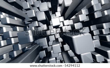 Abstract dynamic block graphic background with reflection 3d illustration