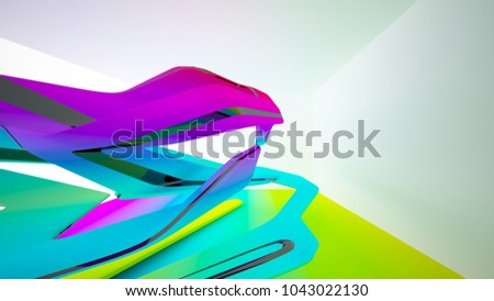 Abstract dynamic interior with black and colored gradient smooth objects. 3D illustration and rendering #1043022130