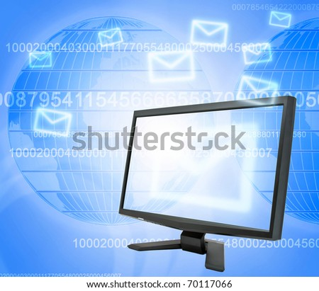 Abstract e-mail communication on map background