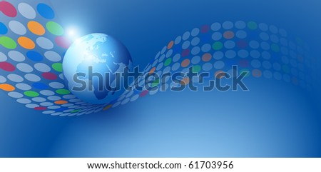 abstract earth globe background  with circles wave, illustration