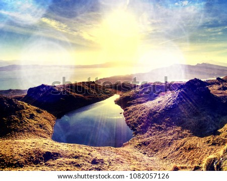 Abstract effect.  Small lake on the mountains and of Scottish Highlands. Scenic Landscape View of Mountain #1082057126