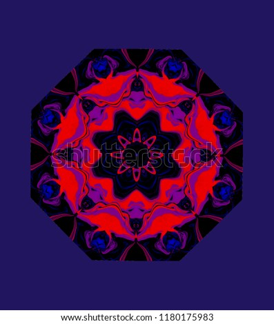 Abstract eight-sided figure in bright colors of the modified image of rose hip. Octagonal knot. ornament in altered colors of flowers rose to purple-blue background.