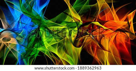 Abstract electrifying lines, smoky fractal  pattern, digital illustration art work of rendering chaotic dark background. Foto stock ©