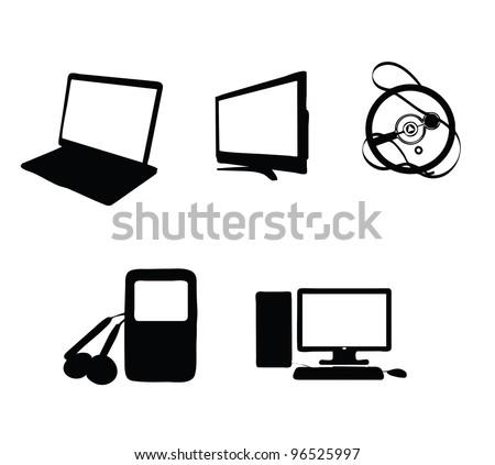 abstract electronics  symbols set