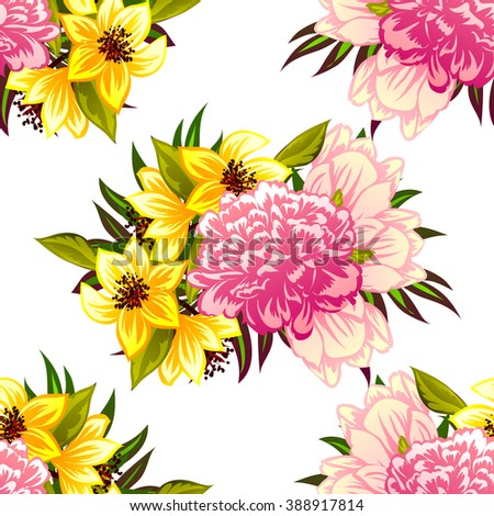 Abstract elegance seamless pattern with floral background #388917814