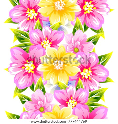 Abstract elegance seamless pattern with floral background #777444769