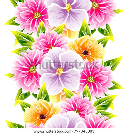 Abstract elegance seamless pattern with floral background #797045083