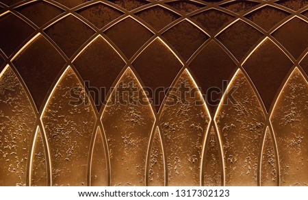 Photo of  Abstract elegant art deco geometric ornamented brown textured background