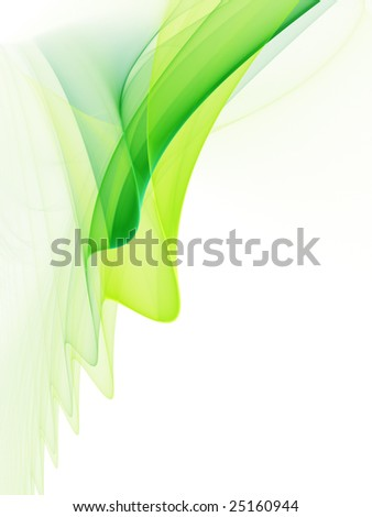 Green on white abstract illustrations