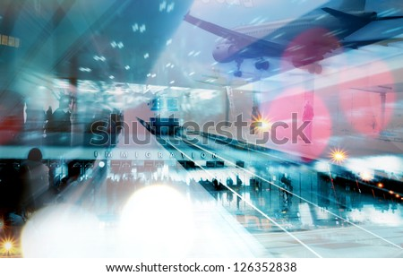 abstract emigration collage- transportation conceptual background