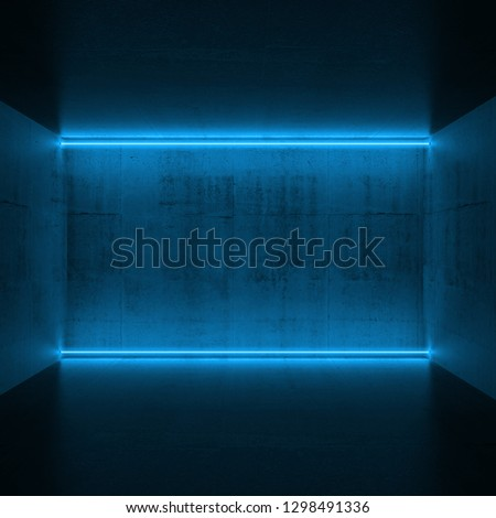 Abstract empty dark concrete interior with horizontal blue neon lights, 3d render illustration