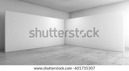 Abstract empty interior, corner of white installation on concrete floor, contemporary architecture design. 3d render illustration