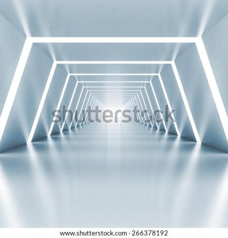 Abstract empty light blue shining corridor interior with illumination, 3d render illustration