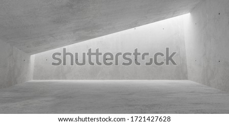 Abstract empty, modern concrete room with indirect lighting from ceiling on back wall and rough floor - industrial interior background template, 3D illustration