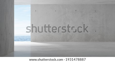 Abstract empty, modern concrete room with opening with ocean view on the back wall and rough floor - industrial interior background template, 3D illustration Сток-фото ©