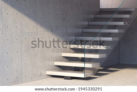 Abstract empty modern concrete room with  wall and stairs, industrial interior background template. 3d rendering Foto stock ©
