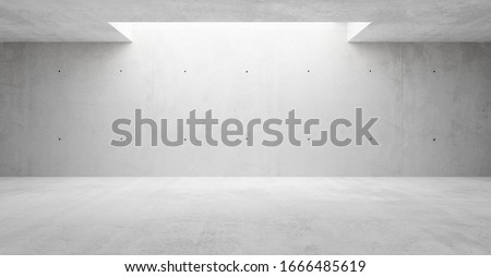 Abstract empty, modern concrete walls hallway room with indirekt ceiling lights in the back - industrial interior background template, 3D illustration
