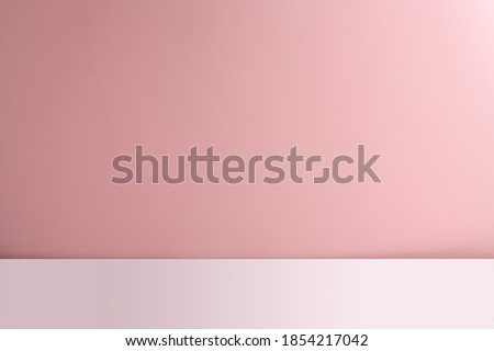 Abstract empty pink background with white base. Scene for advertising, cosmetic ads, showcase, presentation, website, banner, cream, fashion. Illustration. Product display