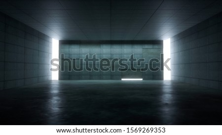 Abstract empty space concrete hall,Empty room with bright light background,Corridor Dark Empty Background ,3D Rendering.