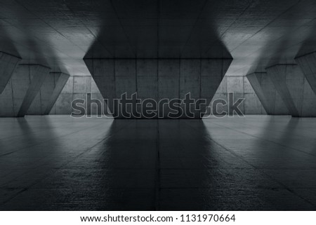 Abstract Empty space with dark wall. Modern blank showroom with floor. Future concept. 3d rendering.
