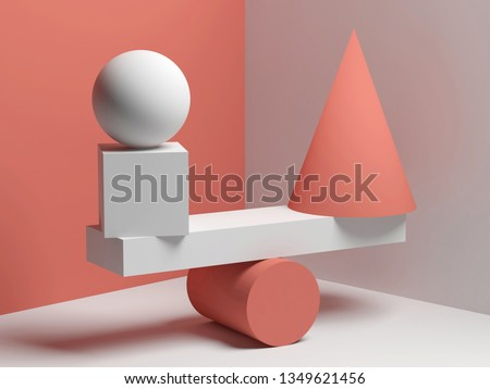 Abstract equilibrium installation of balancing red and white primitive geometric shapes. 3d render illustration