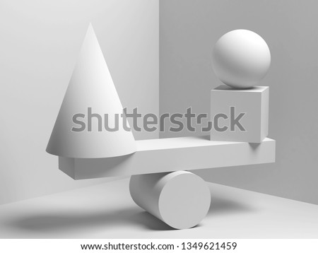 Abstract equilibrium installation of balancing white geometric shapes. 3d render illustration