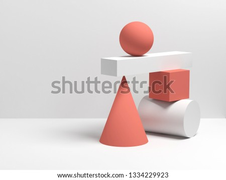 Abstract equilibrium still life installation of red and white primitive geometric shapes. 3d render illustration