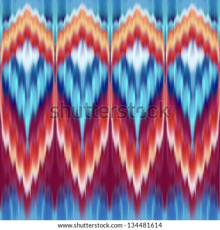 abstract ethnic coral blue red seamless kaleidoscope pattern, fabric print ornament