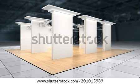 abstract exhibition stand with laminate flooring and blank white walls with lighting