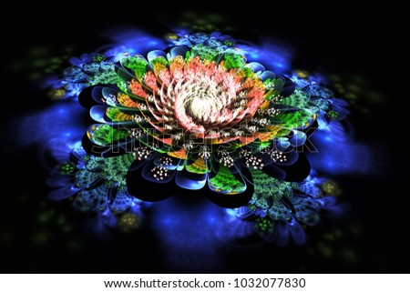 Abstract exotic flower with blue, green and orange textured petals. Fantasy fractal composition. Psychedelic digital art. 3D rendering.