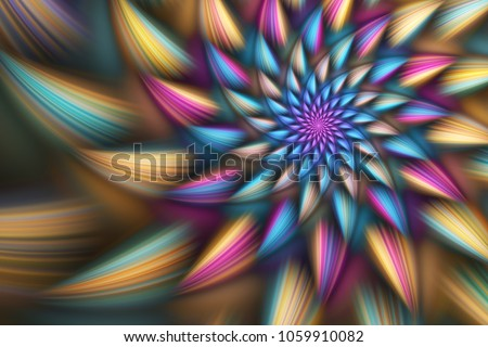 Stock Photo Abstract exotic flower with blue, pink and yellow petals. Fantasy fractal design. Psychedelic digital art. 3D rendering.