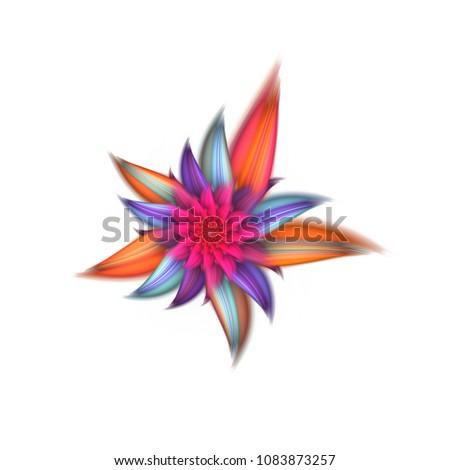Abstract exotic flower with pink, blue and orange petals. Fantasy fractal design. Psychedelic digital art. 3D rendering.