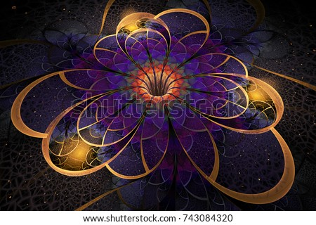 Abstract exotic flower with textured petals on black background. Fantastic fractal design in golden, violet and red colors. Psychedelic digital art. 3D rendering.