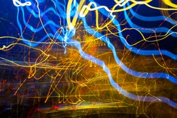 Abstract experimental surreal photo , long exposure, city and vehicle lights.Quantum physics.Texture for background.Wave motion of light