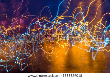 Abstract experimental surreal photo , long exposure, city and vehicle lights.Quantum physics.Texture for background.Wave motion of light #1353629018