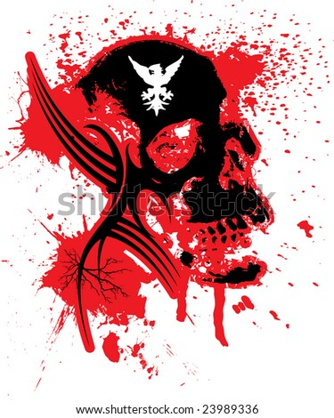 Abstract exploding skull in black and red that could be used as a logo or background - stock photo