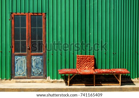 abstract facade house with iron ...