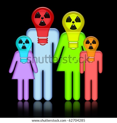 Abstract family in respirators over black background. Applicable for Halloween,  environmental protection, military themes