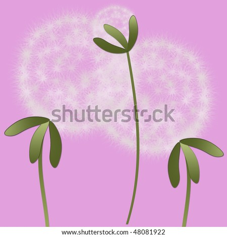 Abstract family of abstract dandelions