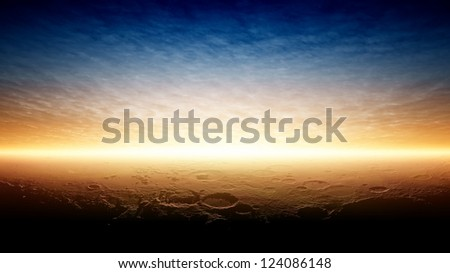 Abstract fantastic background - beautiful sunset on planet Mars after terraforming. Elements of this image furnished by NASA.