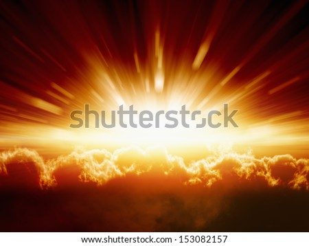 Abstract fantastic background - bright red and yellow sunbeams over dark clouds