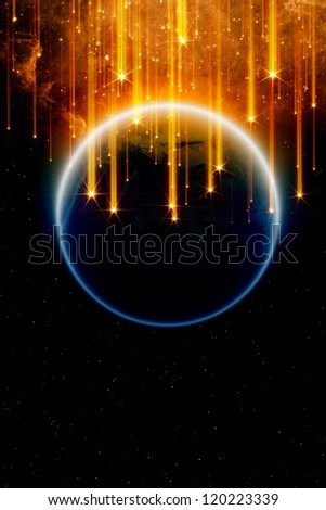 Abstract fantastic background - falling stars, planet earth in space, end of world. Elements of this image furnished by NASA