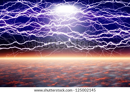 Abstract fantastic background - lightnings over horizon, bright spotlight from above looks like ufo