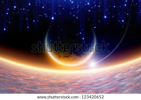 Abstract fantastic background - planet Earth in space, pink clouds, blue stars. Elements of this image furnished by NASA.