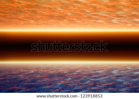 Abstract fantastic background, space under two planets