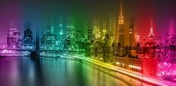 Abstract Fantastic Colorful New York City night scene with Manhattan skyline and Brooklin Bridge