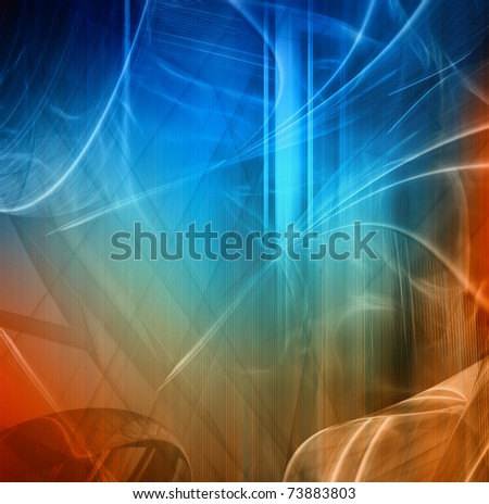 Abstract fantastic composition, blue and red color, background