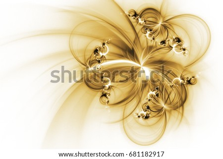 Stock Photo Abstract fantastic golden flowers on white background. Fantasy fractal texture. 3D rendering.
